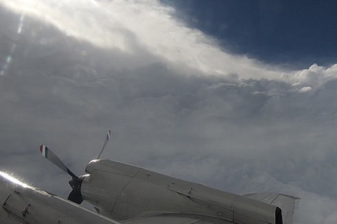 "Flying through the eye of Hurricane Florence aboard a NOAA WP-3D Orion, nicknamed ""Kermit.""Photo courtesy of College of Marine Science graduate student, Nick Underwood."