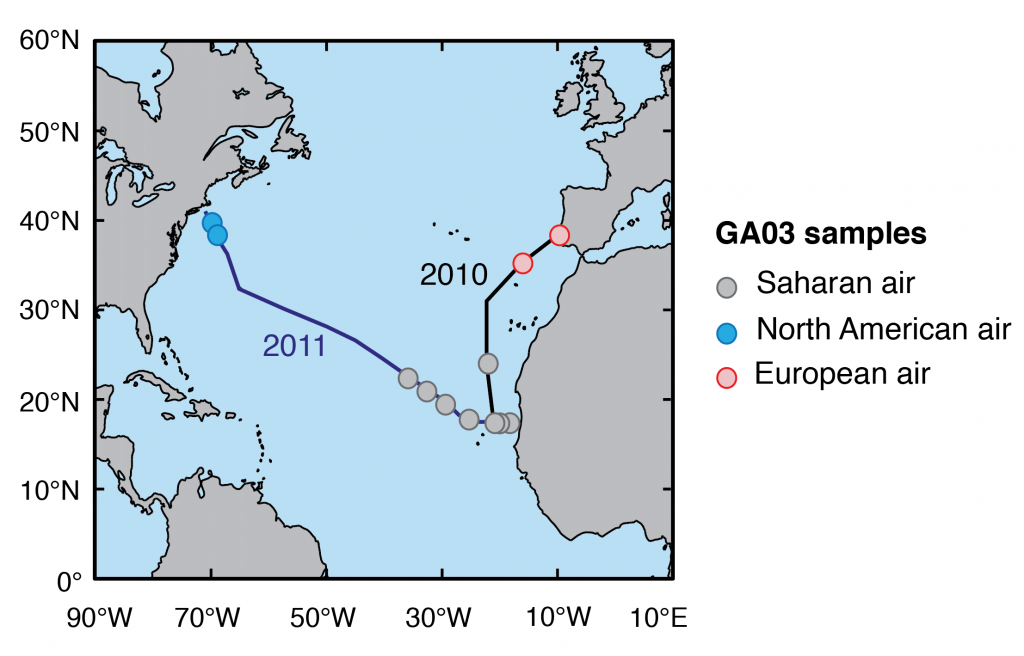 Map showing the sampling locations in the North Atlantic Ocean in 2010 and 2011.