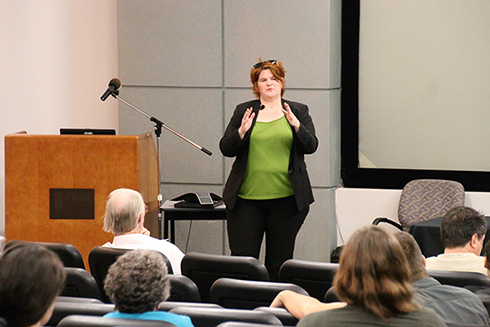 Tina van De Flierdt, Ph.D., speaks to the crowd during her seminar on past, and future, global warming events.