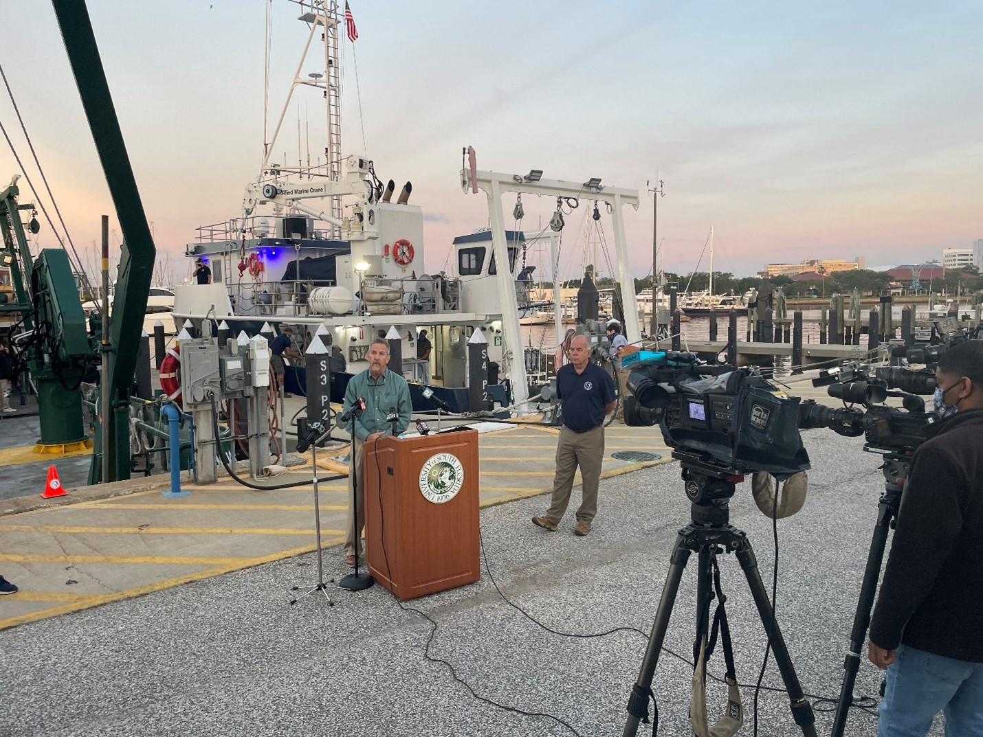 Tom Frazer, dean of the USF College of Marine Science, and Monty Graham, Director of FIO, spoke at a press event held before the R/V Weatherbird departed on the first research sampling effort in response to Piney Point.