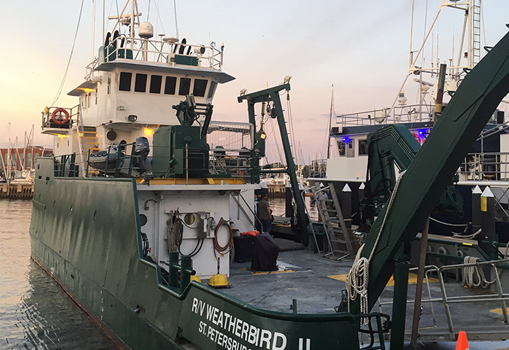 USF marine scientists are aboard the R/V Weatherbird II research vessel to study the environmental impacts of the recent breach at a retired fertilizer processing plant at Piney Point in Manatee County, Fla.