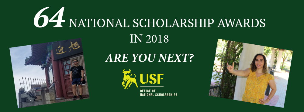 64 USF National Scholarship Recipients this Year! Learn more about us and how we help students identify, envision, and achieve their scholarly and professional goals.