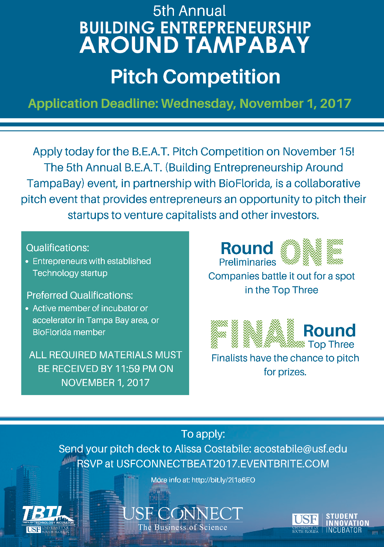 5th Annual B.E.A.T. Pitch Competition Flyer