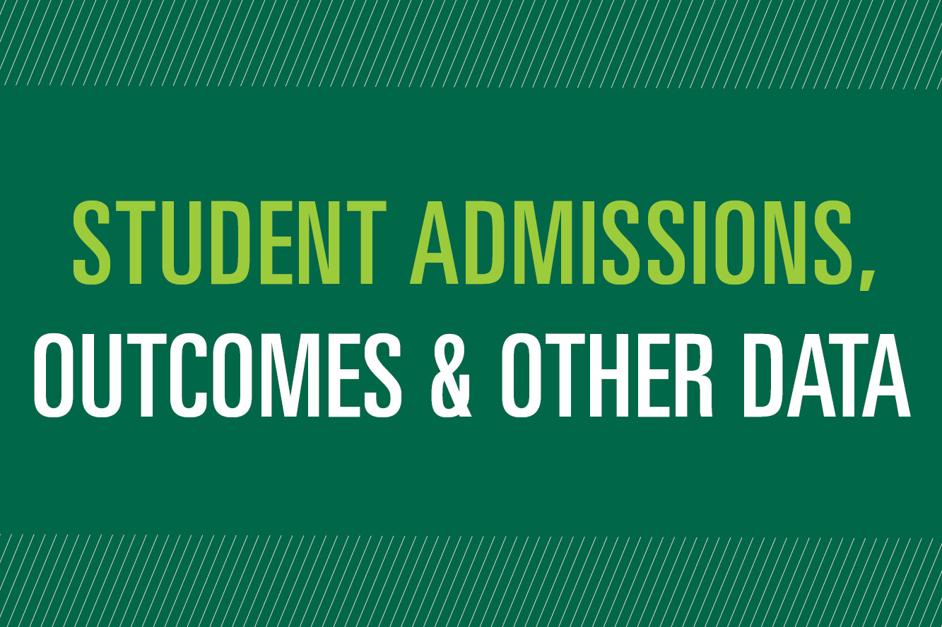 Student Admissions, Outcomes and Other Data