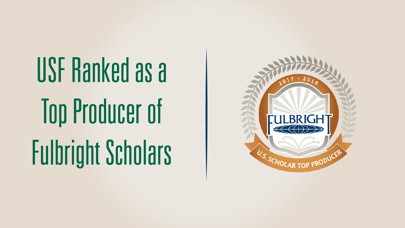 USF Ranked as a Top Producer of Fulbright Scholars text with badge