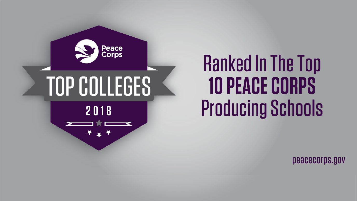 USF Ranked in the Top 10 Peace Corps Producing Schools text with badge